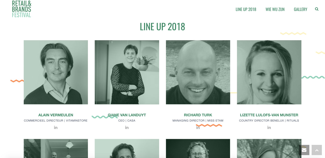 Ratail & Brands Festival line up web pagina