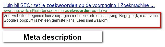 Meta description voor SEO